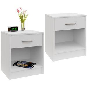 Casaria 2er Set Nachttisch mit Schublade Griff 50 x 40 x 35 cm Weiß Nachtschrank Nachtkommode Beistelltisch