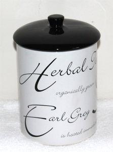 06 Teedose Script weiß Tee Aufbewahrung Caddy Teebox Vorratsdose Vacuum