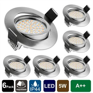 6 LED Einbaustrahler dimmbar 230V Bad IP44 Einbauleuchten Decken-Spots Lampe SET kaltweiß [Energieklasse A++]