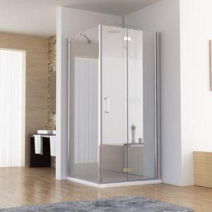 75 x 75 x 197 cm Duschkabine Eckeinstieg Dusche Falttür Duschwand mit 75cm Seitenwand NANO DA+SA