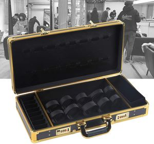 Werkzeugkasten Barber Travel Organizer Box Aufbewahrungskoffer mit Schloss 550x270x100mm (Schwarz + Gold)