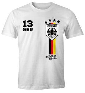 Herren T-Shirt Fanshirt Deutschland Trikot EM WM Fußball Germany MoonWorks® weiß 4XL