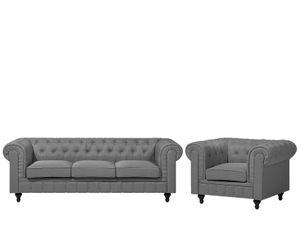 Sofa Set Hellgrau Polsterbezug Sitzgruppe Chesterfield Stil Glamourös Wohnzimmer