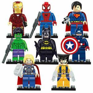 8stk Captain America Batman Superman Thor Super Hero Mini Figur Blöcke Spielzeug Geschenk