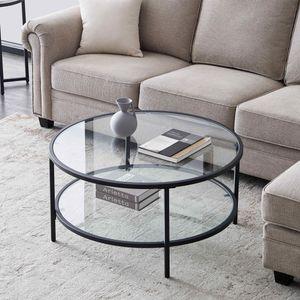 Moderner Stil Couchtisch rund mit 2 Transparent Ablagen Glasplatte foliert in Gestell Metall 85 x 85 x 45 cm schwarz