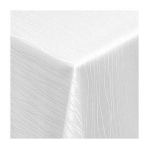 Tischdecke Stoff Textil Tafeldecke Damast Jacquard Tischtuch   Sultan Wellen Streifen Design   Qualität   als Top  Sonderposten    eckig 90x90 cm in Weiss