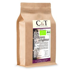 Biologischer Espresso Crema | Cafe entkoffeiniert 100 % Arabica 1000 g entkoffeinierter Kaffee gemahlen im Kraftpapierbeutel