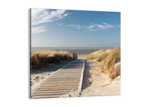 "Leinwandbild - 30x30 cm - ""Hinter der Düne, im Rascheln des Grases""- Wandbilder - Meer Strand Düne - Arttor - AC30x30-2657"