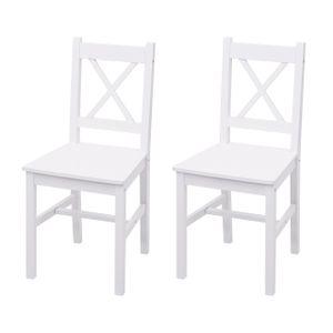 2x Esszimmerstuhl HWC-F77, Lehnstuhl Küchenstuhl Stuhl, Massiv-Holz Landhaus  weiß