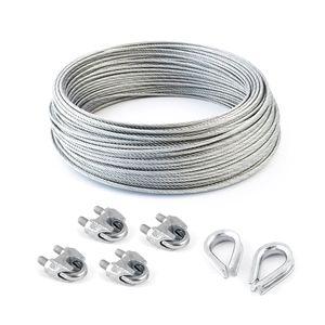 STAHLSEIL + 4 SEILKLEMME + 2 KAUSCHE 3mm 10 Meter   6x7  Seil Seile Drahtseil DIN verzinkt