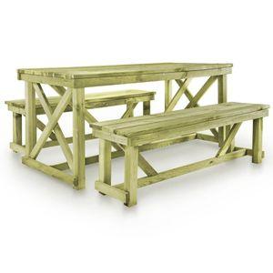 Biertisch mit 2 Bänken Holz