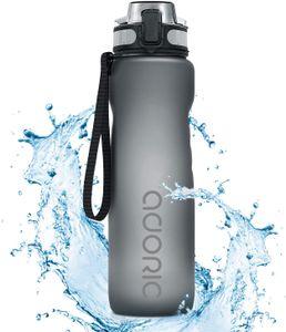 ADORIC Sport Trinkflasche, [BPA Frei Tritan] 500ml  Auslaufsicher Kunststoff Wasserflasche Sport, Sportflasche Fahrrad für Camping Freien, Outdoor, Yoga, Gym,Grau