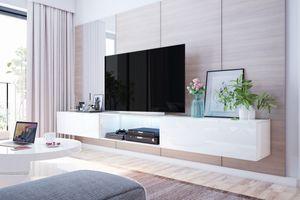 Selsey - TV-Lowboard / TV-Hängeboard LARKA 300 cm mit LED - Beleuchtung, in Weiß Hochglanz und in Weiß Matt