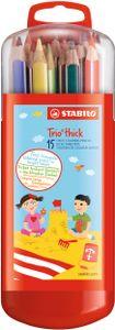 Dreikant-Buntstift - STABILO Trio dick - 15er Box mit Hängelasche - mit 15 verschiedenen Farben