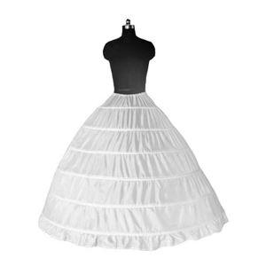Damen Brautkleid Reifrock 6 Ringe Petticoat Unterrock Krinoline Lange Rock Kleid Maxikleid Farbe : Weiß