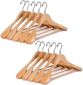 Kleiderbügel und Anzugbügel 10 Stück aus Holz mit extra breiter Schulterauflage(Natur Farbe)