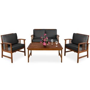 Lounge Sitzgruppe Atlas FSC®-zertifiziertes Akazien Holz Auflagen Sessel Bank Tisch Gartenmöbel Sitzgarnitur Garten Set Anthrazit