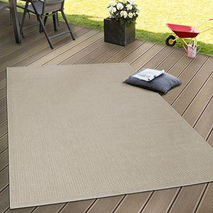 In- & Outdoor Flachgewebe Teppich Terrassen Teppiche Natürlicher Look In Beige, Grösse:160x220 cm