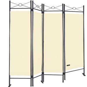 Casaria Paravent Raumteiler Lucca 180x163 cm 4 tlg Trennwand Verstellbar Sichtschutz, Farbe:creme