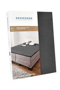 Schiesser Topper-Spannbettlaken Jersey-Elasthan, Baumwolle , Farbe:anthrazit, Größe:180 cm x 200 cm