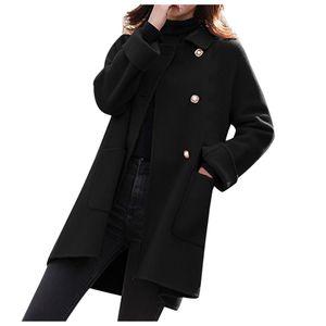 Frau langer Wollmantel Elegante Mischmäntel Schlanke weibliche lange Mantel Oberbekleidung Jacke Größe:M,Farbe:Schwarz