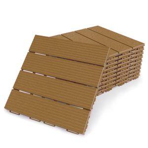 Terrassenfliesen Fortena (cappuccino) 30x30cm, 8 Stück, 0,72 qm, Anti-Rutsch-Oberfläche, Klickfliesen aus Kunststoff in Holzoptik, Bodenbelag, witterungsbeständig: Cappuccino