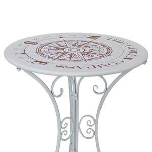 Bistrotisch, Kompass-Design, Eisen, weiß, 60 cm, BAYO