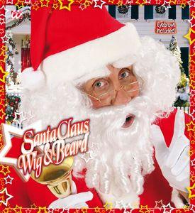Weihnachtsmann Perücke Mit Locken, Bart, Schnurrbart Und Augenbrauen