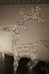 FHS LED Silber Metall Rentier 600 ww LED Draht Lichterkette 62cm IP44