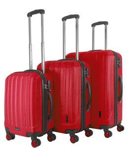 Packenger Premium Koffer 3er-Set Velvet M, L+XL in Rot, 54x31x78 cm; 103-003P-03