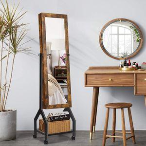 COSTWAY Schmuckschrank mit Ganzkörperspiegel und Ablage, Vintage Schmuckregal abschließbar, Schmuck Spiegelschrank stehend, Standspiegel für Ringe, Kettenhaken, Ohrringe und Kosmetik