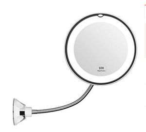 Flexibler Vergrößerungsspiegel mit LED Licht, 10-facher Vergrößerung, Starker Saugnapf - beleuchteter Kosmetikspiegel Make-Up Schminkspiegel mit Blendfreier Beleuchtung