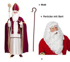 Nikolaus Kostüm Bischof Weihnachten Gr L/XL + Deluxe Perücke mit Bart  + Stab