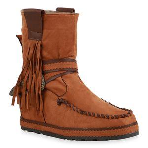 Mytrendshoe Damen Stiefeletten Schlupfstiefeletten Keilabsatz Fransen Schuhe 835547, Farbe: Hellbraun, Größe: 37