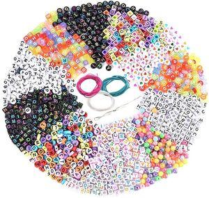 1300 Stück Perlen Buchstaben zum Auffädeln Acryl Alphabet Bunt Buchstabenperlen A bis Z DIY Zubehör Schmuck Basteln mit Schnur (Mehrfarbig 1300)
