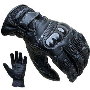 Motorradhandschuhe Leder kurz schwarz von PROANTI® - Größe L