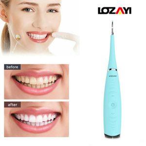LOZAYI Zahnsteinentferner, Ultraschall-Zahnreinigungsgeräte, tragbarer 5-Gang-Dental Cleaner mit USB-Antrieb (Blau)