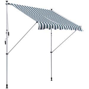 Outsunny Markise Gelenkarmmarkise Klemmmarkise Höhenverstellbar Sonnenschutz Faltarm Handkurbel Balkon Alu Grün+Weiß 200 x 150 cm