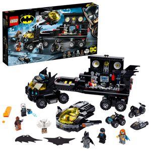 LEGO 76160 Super Heroes DC Batman Mobile Batbasis, Truck Spielzeug mit Batjet, Batquad, Motorrad und Wasserflitzer