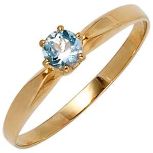 JOBO Damen Ring 585 Gold Gelbgold 1 Aquamarin hellblau Goldring Größe 50