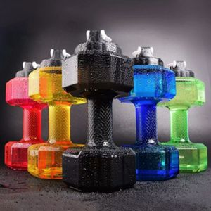 2.2L Sport  Fitnessstudio Krug Hantel Wasserflasche geformt Workout Fitness 2200ML Sportkapsel mit großer Kapazität,Schwarz