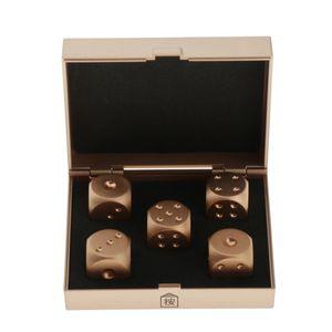 Packung Mit 5 Würfeln 6 Gesichter 16mm Gold Würfelspiel Für Bunco Oder Mathematikunterricht Mit Aufbewahrungsbox 16mm