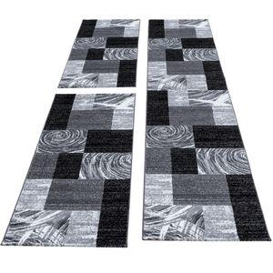 Kurzflor Teppich Läuferset 3-teilig Bettumrandung Schlafzimmer Schwarz meliert, Bettset:2 x 80x150 cm + 1 x 80x300 cm