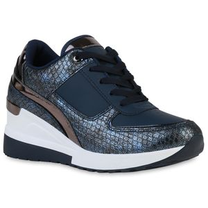 VAN HILL Damen Sneaker Keilabsatz Schnürer Metallic Prints Schuhe 837770, Farbe: Dunkelblau Grau Metallic Snake, Größe: 38
