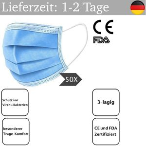 100x Firelia Mundschutz Maske  Atemschutz Gesicht Einweg Atem Maske Hygienemaske 3-Lagig Blau