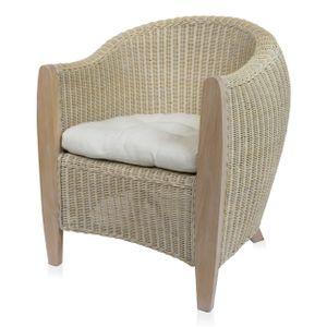 BARI Sessel aus Rattangeflecht mit Massivholzgestell inkl. Sitzpolster, weiß gewischt