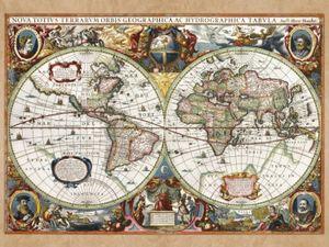 Historische Landkarten Poster Leinwandbild Auf Keilrahmen - Weltkarte, Nova Totius Terrarum, 1630 (60 x 80 cm)