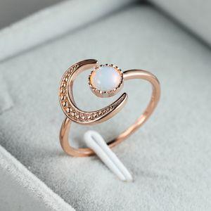Frauen Mond Ring verstellbar Silber Braut Verlobungsring Vintage Zirkon Ring SJJ201022999RG