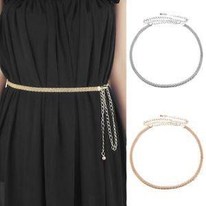 2 Stücke Damen Kleid Metallgürtel Taille Kette Gürtel Körperschmuck Bauchketten Quastenkette
