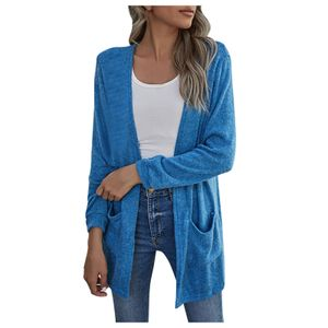 Damen New Loose Casual Dünne Strickjacke Einfarbige Tasche Langarm Jacke Größe:XL,Farbe:Blau